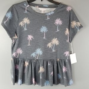 NWT LC Lauren Conrad Gray Palm Tree Top